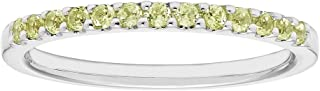 14K Gold Birthstone 2MM Gemstone Stackable Anniversary Band Ring