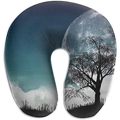 Almohada De Cuello En Forma De U,Almohadas De Viaje,Cojin Cervical,3D Nature Moon Trees Head Relájese Almohada En Forma De U,Almohada De Vuelo En Automóvil para Descansar