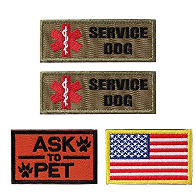 Petvins Service Dog Patch for Vest Harness Backpack K9 Morale Badge Hook and Loop in Training - Outdoor Tactical Dog Molle Vest Camouflage Harness