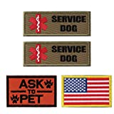 Petvins Service Dog Patch for Vest Harness Backpack K9 Morale Badge Tactical Hook and Loop in Training USA Back Embroidered Tag