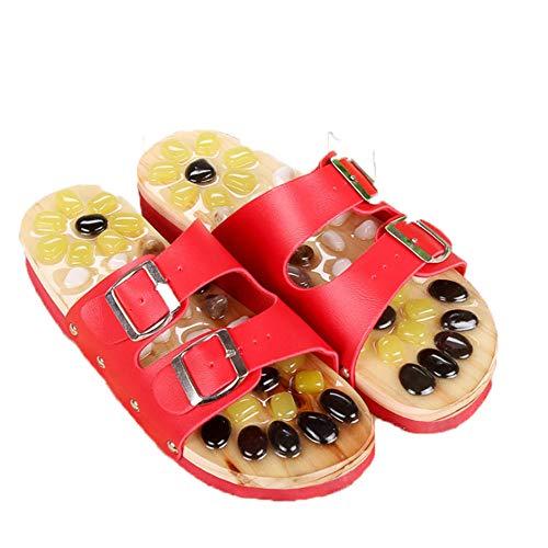 WINNNGOO Massage,Fußmassageschuhe für Männer und Frauen Massagepantoffeln-rot_37-38