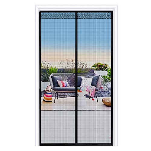 JOYPEA Magnetic Screen Door 32'x80' with Durable Fiberglass Mesh Curtain and Full Frame Hook & Loop - Fits Doors up to 32'x80'