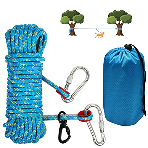 N\C Dog Tie Out Cable for Camping - 50ft Portable Reflective Overhead Trolley System for Dogs up to 200lbs, Dog line for Outside Yard Camping Outdoor