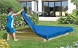 Gartenwelt Riegelsberger Sandkastenabdeckung Blaue Plane für Sandkasten 120x120 cm Abdeckplane Abdeckung
