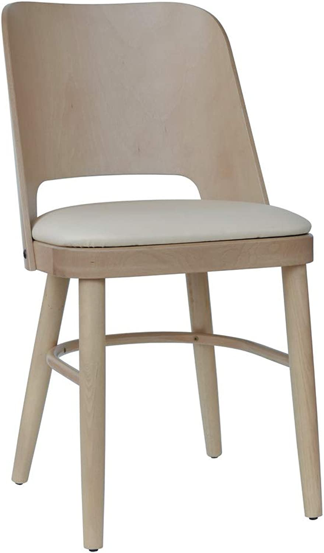 Abritus Stuhl Küchenstuhl Esszimmerstuhl Buche massiv Natur Polster Creme T011
