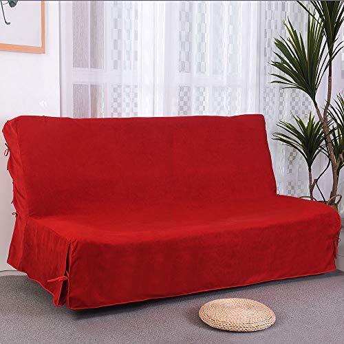 CLIC CLAC Funda de sofá de 3 plazas (140 x 200 cm, Acolchada), Color Rojo, Trois Places