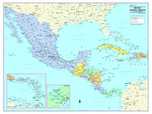 """Cool Owl Maps Mexico, Central America, and Caribbean Wall Map - Rolled Laminated (32""""x24"""")"""