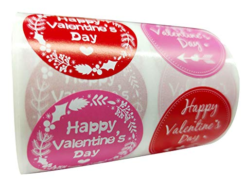 Red Round Valentine's Day Sticker Labels - Happy Valentine's Day Sticker Labels 2 Inch -Valentine's Day Heart Stickers 500 Adhesive Love Labels Per Roll