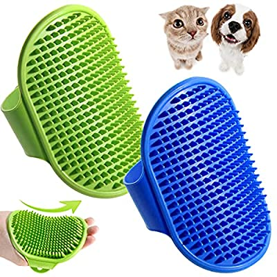 Dog Bath Brush, 2 Pcs Pet Grooming Brush Cat Shampoo Brush Shower Wash Brush Rubber Soothing Massager with Adjustable Handle, Mitt Comb for Long Short Haired Puppy Washing Grooming
