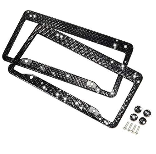2 Pack Handcrafted Black Crystal Premium Stainless Steel Bling License Plate Frame