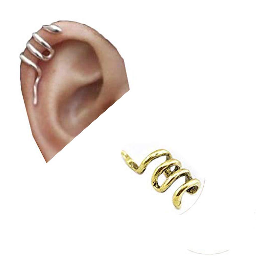 starlit 1 Pc Women Fashion Unique Mini Snake Shape Ear Cuff Wrap Ear Clip Earring Non-piercing Snake Climber Earrings Jewelry Gift for Women Girls Golden