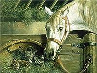 デジタル絵画馬と子猫DIY油絵 数字キットによる絵画使用するブラシとアクリル顔料アートの家の装飾 40x50cm (フレームレス)