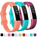 GEAK Compatible with Fitbit Alta and Alta HR Band, Soft Classic Accessories Sport Bands Compatible for Fitbit Alta HR/Fitbit Ace,Coral Fuchsia and Teal,Small