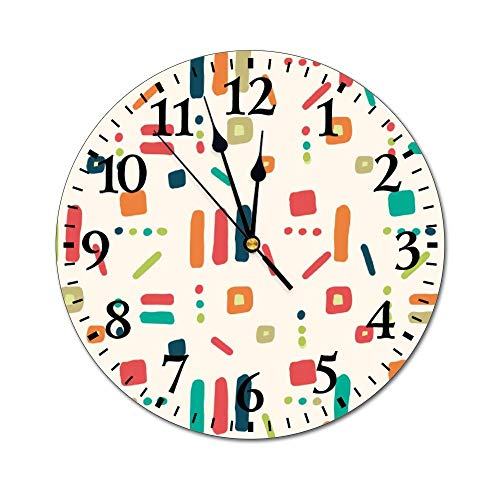 No Brands - Reloj de pared redondo decorativo para el hogar, dormitorio, cocina, escuela, oficina, casa de campo, diseño de rayas geométricas retro
