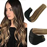Sew in Hair Weft Human Hair Extensions Real Remy Hair Weave Bundles 100% Brazilian Virgin Hair Extensions Balayage Black to Brown with Strawberry Blonde Highlights Double Weft Full Head 80g 14 Inch