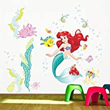Cartoon princess Fish Bubble Wall Stickers For Kids Room Home Decoration Diy Mural Art Girls Wall Decals