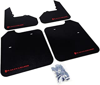 Rally Armor MF3-RD Classic Black, Red Mud Flap with Logo (Mitsubishi EVO 8/9/MR)