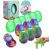 Sunool 12 Packs Slime Eggs, 6 Packs Galaxy Slime Eggs and 6 Packs Luminous Eggs Glow in The Dark, Easter Eggs Slime Toys Christmas Stocking Stuffers for Kids