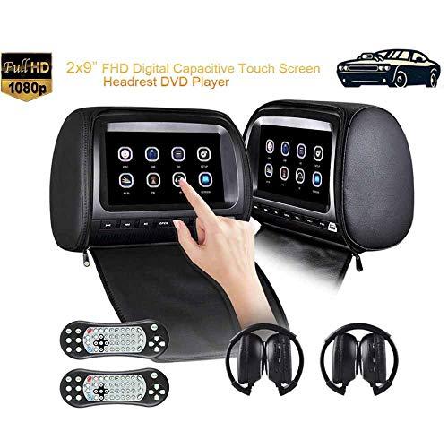QWSA Reproductores Video Reposacabezas Doble AutomóVil,Monitor DVD 9 Pulgadas Entretenimiento En El Asiento Trasero Los NiñOs, BotóN MecáNico 1080P,2 Piezas Auriculares IR
