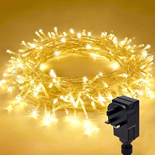 Qxmcov Led String Lights, 200 LED Christmas Lights Fairy Lights 8 Modes, 25 Meters Waterproof Fairy String Lights Decoration for Christmas, New Year, Party, Wedding, Bedroom, Indoor (25 Meters)