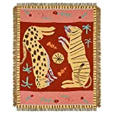 47' × 59' Leopard & Tiger Style Woven Throw Blanket- Turkish Throw Blanket Carpet Mat Reversible Cotton Woven Tapestry for Sofa Couch Bed Cover Travel Camping Using