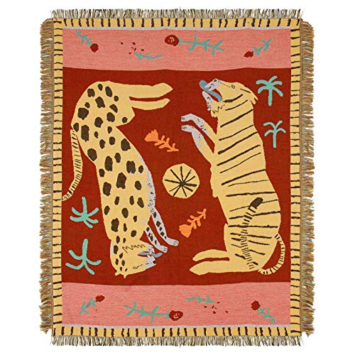 """47"""" × 59"""" Leopard & Tiger Style Woven Throw Blanket- Turkish Throw Blanket Carpet Mat Reversible Cotton Woven Tapestry for Sofa Couch Bed Cover Travel Camping Using"""