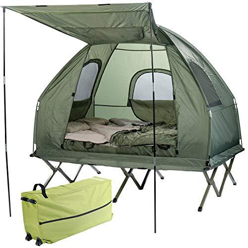 Semptec Urban Survival Technology Campingbett: 4in1-Doppelzelt, Feldbett, 2 Winterschlafsäcke, Matratze, Sonnenschutz (Campingbett 2 Personen)