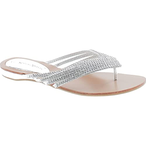 ffcc257813a45a Nature Breeze Kylie 09 Rhinestone Embellished Thong Flat Sandals Silver