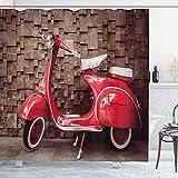 ABAKUHAUS Jahrgang Duschvorhang, Retro-Nostalgie-Roller, Waschbar & Leicht zu pflegen mit 12 Haken Hochwertiger Druck Farbfest Langhaltig, 175 x 200 cm, Rote Umbra