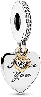 PANDORA Love You Forever Dangle Charm, Two Tone - Sterling Silver and 14K Yellow Gold, Clear Cubic Zirconia, One Size