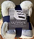 Navy Blue Gray White Pattern Life Comfort Plush Sherpa Reversible 60 by 70 inch Throw