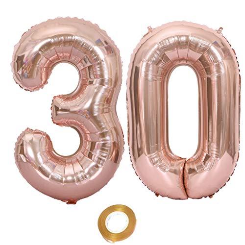 Globos con el número 30, número 30, color oro rosa, para niña, globos para el 30 cumpleaños, globos de 30 cumpleaños, globos de color oro rosa, número 30, globos grandes de 100 cm
