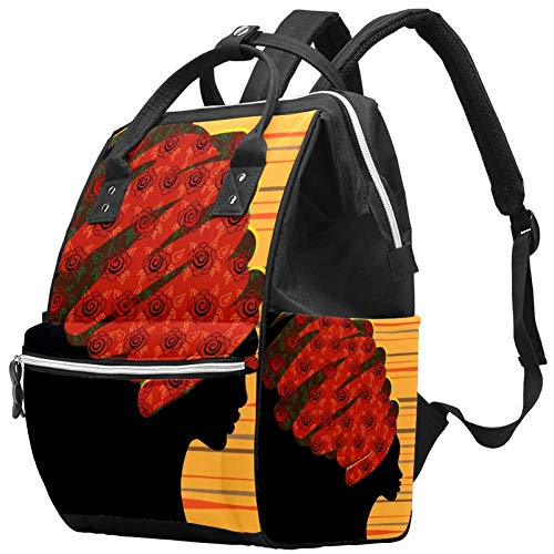 Schöne Afrikanerin Windel Wickeltasche Windelrucksack mit isolierten Taschen Kinderwagengurte, große Kapazität Multifunktionale stilvolle Wickeltasche für Mama Papa im Freien