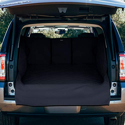 FrontPet Extra Wide and Extra Long Quilted Dog Cargo Cover for SUV Universal Fit for Any Animal. Durable Liner Covers and Protects Your Vehicle, Extended Width, XXL, Black
