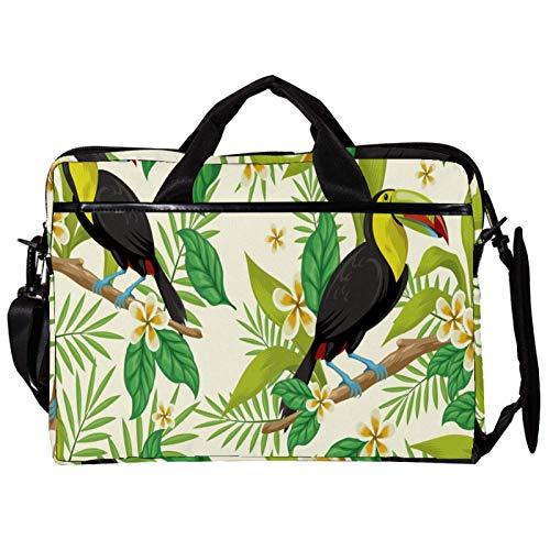 Mochila unisex para ordenador o tableta, ligera para portátil, bolsa de viaje de lona, 33.4 a 34.5 cm con hebillas, tucanes tropicales, rosas y flores, hojas verdes
