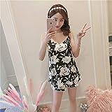 Handaxian Ropa de Lujo para Mujer Pijamas Cortos con Cuello en v Correa para el Pecho para Dormir Conjunto de Pijamas para niñas 2 L