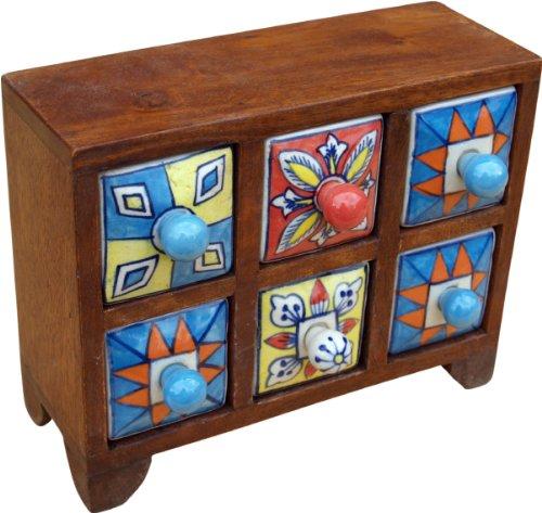 Guru-Shop Apotheekkast met Kleurrijke Keramische Lades - 3x2 Vakken Model 2, Bruin, 16x22x8 cm, Blikken, Dozen Kisten