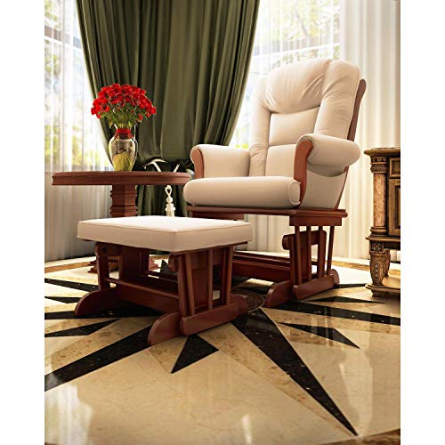 Naomi Home Deluxe Multiposition Sleigh Glider And Ottoman Set Cherry/Cream
