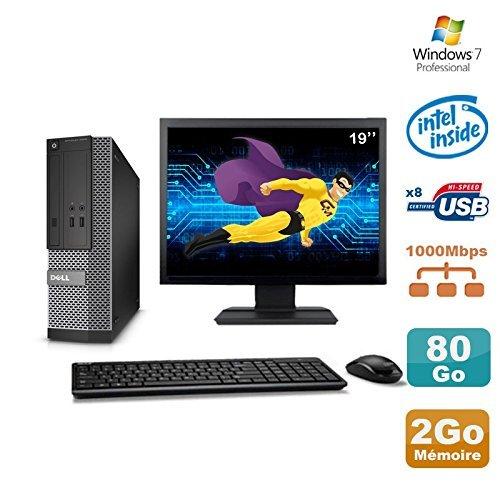 "Dell Lot PC Optiplex 3020 SFF Intel G3220 3GHz 2Go 80Go DVD W7 + Ecran 19"" (Reconditionné Certifié Grade A)"