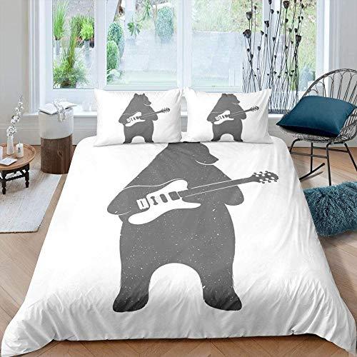 dsgsd Juego de funda nórdica impresa en 3D de 3 piezas Guitarra simple oso animal lindo 180x220cm Juego de ropa de cama de estilo simple a la moda de 3 piezas, juego de sábanas de edredón, ropa de cam