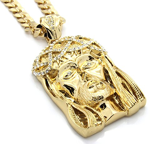 Mens Gold Tone Large Crowned Jesus Pendant with 30' 10mm Cuban Chain Necklace