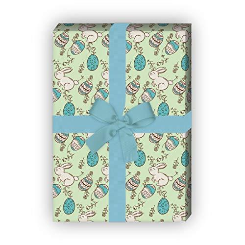 Kartenkaufrausch mooi Pasen cadeaupapier set met handgetekende paashaas voor liefdevolle cadeau, verpakking 32 x 48 cm, 4 vellen om in te pakken voor verjaardagen, geboorte, Pasen, groen