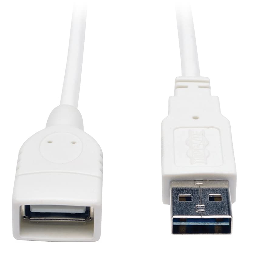 TRIPP LITE 10-Feet USB 2.0 Universal Reversible Extension Cable M/F, White (UR024-010-WH)