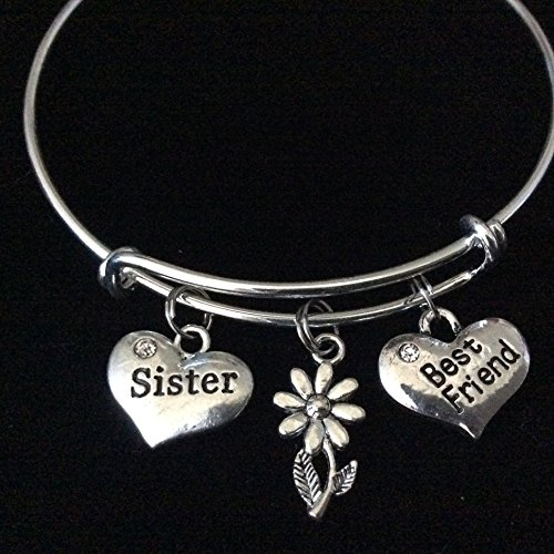 Sister Best Friend Heart with Daisy Expandable Silver Charm Bracelet Double Sided Adjustable Bangle
