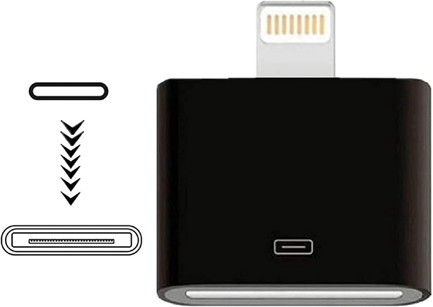 Giom Lightning to 30 Pin Adapter,MFi Certified Male to 30 Pin Female Connector Converter with iPhone Lightning Charger Cable Cord Compatible iPhone 12 11 X 8 7 6P 5S 4S 4 3 3G/iPad/iPod (Black)