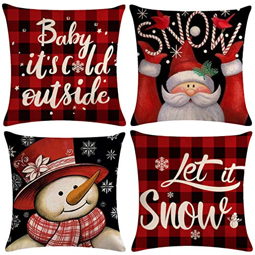 ULOVE LOVE YOURSELF 4pack Winter Snow Throw Pillow Case Buffalo Check Plaid with Snowman/Santa Christmas/Winter Holiday Home Decorative Cushion Pillowcases 18 x 18 Inches