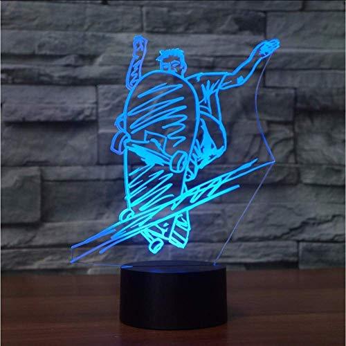 Fashion Slide Plate Moulding tafellamp 7 kleuren 3D LED Street Art Skateboarding nachtlampje lamp boy nachtkastje lamp decoratie