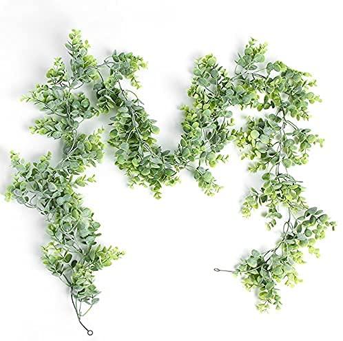 huaao Künstlich Pflanze Künstliche Silberdollar Eukalyptusblätter,Künstliche Eukalyptus Girlande Künstliche Pflanze Deko Girlande Hochzeit Eukalyptus Kranz für Hochzeit Bogen Hausgarten