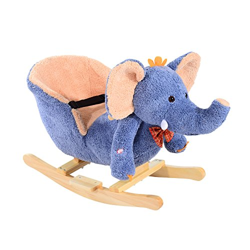 HOMCOM Children Kids Rocking Horse Toys Plush Elephant Rocker Seat with Sound Toddler Baby Gift Blue