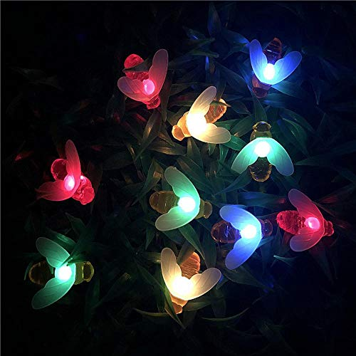 Multicolor 10M 50LEDs New Solar Powered Cute Honey Bee Led String Fairy Light Bee Outdoor Garden Fence Patio Christmas Garland Lights